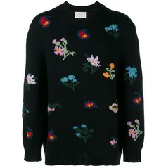 GUCCI Embroidered Wool-Bend Sweater (152785 RSD) ❤ liked on Polyvore featuring men's fashion, men's clothing, men's sweaters, mens wool crew neck sweater, mens crew neck sweaters, mens floral sweater, mens wool sweaters and mens colorful sweaters