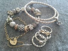 PANDORA Bracelet in Gold, Cream n Brown Tones with Complementary Cream Leather Bracelet and Rings....