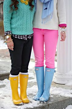 Discover this look wearing Yellow Rain Boots Hunter Boots, Aquamarine Mint Impressions Boutique Sweaters - BRRights by GracefulleeMade styled for Chic, Photo Shoot in the Winter Adrette Outfits, Preppy Outfits, Winter Outfits, Boot Outfits, Hunter Boots Outfit, Hunter Rain Boots, Preppy Mode, Preppy Style, Winter Wear