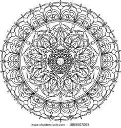 Mandala adult coloring page. Circle mandala with flower, circle and other geometric ornament. Vector illustration.