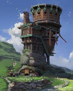 Pin by owen collins estrada on fantasy landscapes Fantasy City, Fantasy House, Fantasy Places, Fantasy World, Fantasy Art Landscapes, Fantasy Landscape, Landscape Art, Building Concept, Building Art