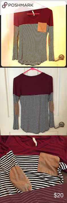 af75512e55d946 Cute striped and color block top! Super cute top and very comfortable