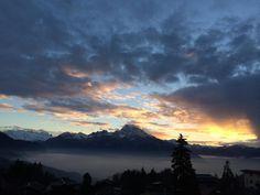 Breath taking sunset at Aiglon, Switzerland Ski, College Campus, Swiss Alps, Take A Breath, Switzerland, Scenery, Seasons, Mountains, Sunset