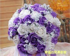 Purple Flower Bouquets   ... Bouquet Artificial 30 Rose Flowers , Purple Bridal Bouquets 5 Colors