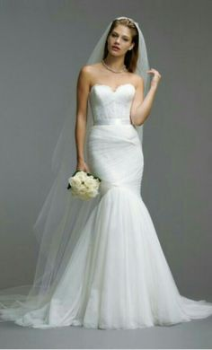 Rouched mermaid tulle wedding dress with a corset top