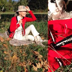STYLISH AUTUMN LOOK! The absolute perfekt eyecatcher gives this fire red jacket by The hat by with the famous pattern combines excellent to the entire color game. Boots by Bogner. Color Games, Empire Style, I Cool, Fall Looks, Fascinator, Yves Saint Laurent, Burberry, Lace Dress, Valentino