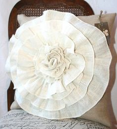Burlap flower pillow by ava