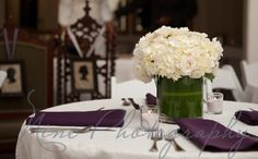 wedding centerpiece - purple &/or green hydrangeas