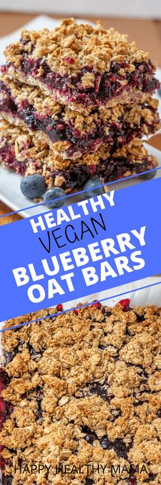 We love these super easy and healthy Vegan Blueberry Oat Bars! They are delicious and are made with no refined sugar. Such a great recipe the whole family loves. Healthy enough for breakfast, but also makes a great healthy dessert idea. Healthy Cookie Recipes, Healthy Cookies, Healthy Baking, Vegan Recipes, Snack Recipes, Free Recipes, Brownie Recipes, Drink Recipes, Healthy Food