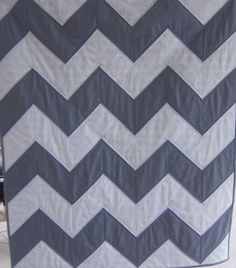 Modern Chevron Baby Quilt in Grey and White by Dreamy Vintage Sheets on Etsy. $130.00, via Etsy.
