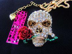 New Betsey Johnson beautiful red roses skull crystal necklace N286 #BetseyJohnson #Pendant