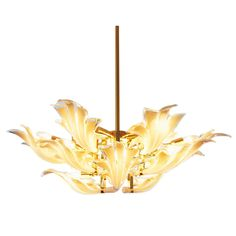 Organic Brass Chandelier With Glass Flower Leaves | From a unique collection of antique and modern chandeliers and pendants  at http://www.1stdibs.com/furniture/lighting/chandeliers-pendant-lights/