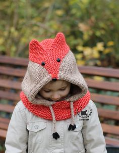 Knitting pattern for Sly Fox Hood - Knit a trendy and adorable fox hooded cowl for the whole family! Worked seamlessly in one piece with aran or bulky yarn, it knits up in no time. Sizes: S (M, L) XL to fit Baby (Toddler/Child, Teen/Adult) Large Adult Baby Knitting Patterns, Knitting For Kids, Free Knitting, Knitting Projects, Crochet Projects, Crochet Patterns, Cowl Patterns, Beginner Knitting, Knitting Tutorials
