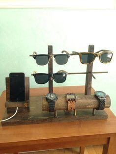 Handmade Wooden Sunglass and Watch Holder
