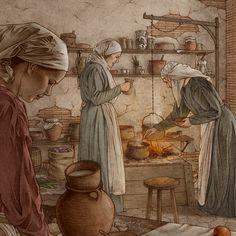 A Medieval Kitchen on Behance Medieval life Medieval Medieval crafts