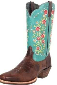 Ariat Western Womens Boots Uptown Turquoise Blue Red Flowers | eBay
