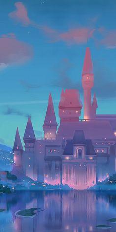 Scenery Wallpaper, Pastel Wallpaper, Disney Wallpaper, Wallpaper Backgrounds, Kawaii Wallpaper, Castle Drawing, Castle Painting, Aesthetic Iphone Wallpaper, Aesthetic Wallpapers
