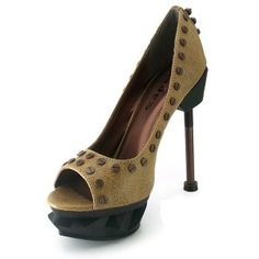 Iron Punk Black Steampunk Pump - New at GothicPlus.com Price: $115.00  These Mustard Yellow thundra pu pumps have a classic peep toe pump style - all steampunked up! Brass rivets along the edges spikes up the back the amazing double ABS platform (about 1 inch high) and equally amazing 5 inch steel bolt heel  Made by Hades (formerlly Metropolis) Shoes with all man-made materials padded insole and non-slid sole.  #gothic #fashion #steampunk