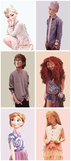 Some Disney Pixar characters in Modern outfits  Frozen, Rise of the Guardians, How to train your Dragon, tangled and Brave