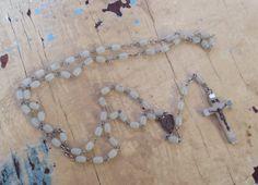 Vintage French  rosary off-white beads by karmolijntje on Etsy