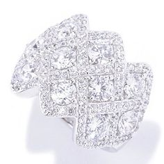 128-379 - Charlie Lapson for Brilliante® Platinum Embraced™ 3.43 DEW Round Cut Woven Ring