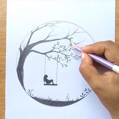 Alone Girl swinging in a tree 3d Art Drawing, Art Drawings Sketches Simple, Girl Drawing Sketches, Girly Drawings, Art Drawings Beautiful, Girl Sketch, Pencil Art Drawings, Drawings Of Sadness, Heart Break Drawings