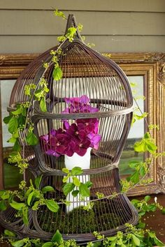 What to do with a bird cage.  So dang pretty!!