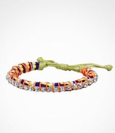 THREAD WRAPPED RHINESTONE CORD BRACELET at Express.  Lets skip the clothes and pile on some serious jewelry instead.