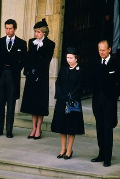 Diana, Princess of Wales, Prince Charles, Queen Elizabeth II and Prince Phillip at the funeral of the Duchess of Windsor at St. George's Chapel, Windsor Castle. April 29, 1986.  Wallis Simpson