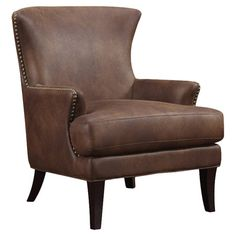 Offering a spacious seating option, this Loon Peak Leather Arm Chair can enhance the interior decor in an instant. It has a contemporary inspired design t...
