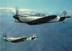 Spitfire mk. IX's in Italy. Two spitfires of 241 Sqn. on patrol over the Mount Vesuvius area on Jan 27th, 1944