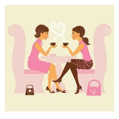 Art Print: Girlfriends Talk over Coffee Art Print : Graphic Design Illustration, Photo Illustration, Posters Uk, Coffee With Friends, Coffee Talk, Coffee Break, Coffee Drinks, Coffee Snobs, Drinking Coffee