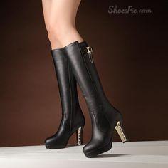 cool Shoespie Metal Decoration Heel Knee High Boots