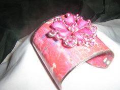 Pink Rhinestone Wide Cuff Bracelet by decodiva49 on Etsy, $40.00