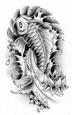 Tattoos And Body Art koi tattoo design Kio Fish Tattoo, Pez Koi Tattoo, Coy Fish Tattoos, Koi Tattoo Sleeve, Japanese Sleeve Tattoos, Tattoo Sleeve Designs, Leg Tattoos, Body Art Tattoos, Tatto Koi