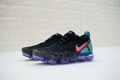 f9d87dd9ba43 Nike Air VaporMax Flyknit 2 Running Shoe 942842-003 Coal Black Pink Blue  Purple
