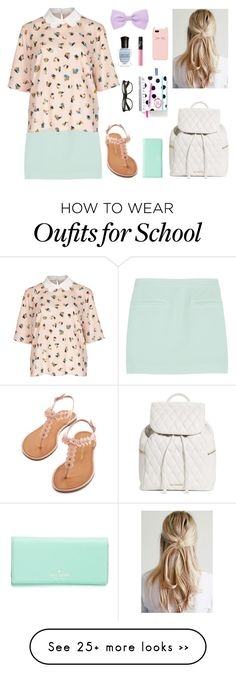 """""""Preppy school outfit! Collab with @dianabarbz"""" by clothespose on Polyvore featuring T By Alexander Wang, Deborah Lippmann, Vera Bradley, NARS Cosmetics, Accessorize and Kate Spade"""