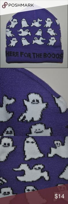 HERE FOR THE BOOOS Beanie Hat BRAND NEW without tags - features a hidden pocket on the back that has an on/off switch (removable) - spooky sound when turned on // tags: goth halloween witchy spirits spirit fun gothic alternative party trick treat treating womens women girly girls girl different quote saying sayings quotes word words humor silly funny ghost boo pyscho hats beanies cool amazing unique interesting stretch wicked bold color black style dark horror creep creepy creeper weird…