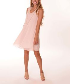 Lbisse Pale Pink Sheer-Layer Swing Dress by Lbisse #zulily #zulilyfinds