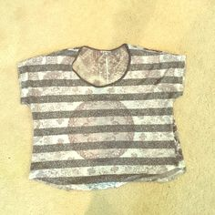 Small loose fit Charlotte Russe top Grey and silver striped top. The back is sequined. GREAT condition. Size S Charlotte Russe Tops Crop Tops
