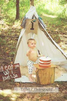Wild one birthday boy pictures teepee outdoor photos naked cake smash