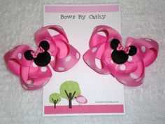 Minnie Mouse Hair Bows for Pigtails by kdstomny6 on Etsy, $8.00