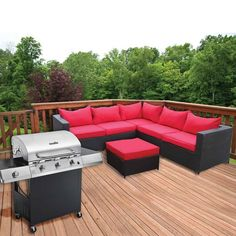 Castell 2 Piece Wicker Furniture Set & 3 Burner Gas Grill | Bundle Deal Great outdoor furniture and grill bundle pricing!  The Castell 6 seater sofa is both big and very comfortable. Perfect for relaxing in the outdoors with friends and family. The large ottoman/footstall can be used as an extra seat, or a drinks table, when a tray is placed on top. The Char-Broil Performance TRU-Infrared Gas Grill delivers great cooking with ideal heat for juicy, flavorful meat.
