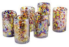 With their festive colors and confetti-like motif, these tumblers, handblown of recycled glass by Mexican artisans Javier Gutiérrez and Efrén Canteras, transform any gathering into a special occasion.