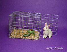 OOAK 1:12 Dollhouse Miniature Bunny Rabbit & Cage Pet Furred Handmade Realistic