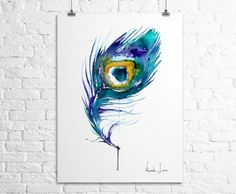 Peacock Feather Giclee Art Print  Watercolor by WatercolorPrint, $30.00