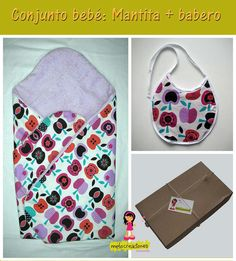 Mantita y babero a juego.  100% algodón Pot Holders, Bed Covers, Game, Dressmaking, Manualidades, Clothing, Hot Pads, Potholders, Planters