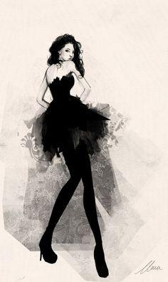 woman in black fashion illustration