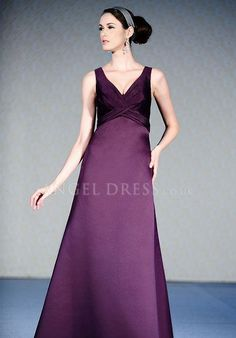V Neck A line Satin Empire Floor Length With Ruching Bridesmaid Dress