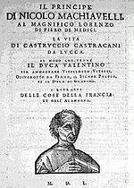 Il Principe di Nicolo Machiavelli, portada de 1550.